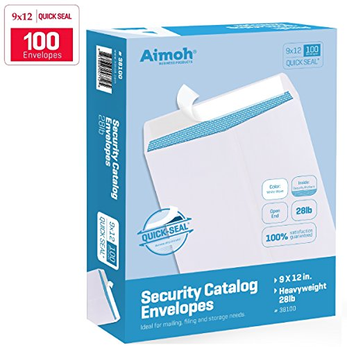 100 9 x 12 SELF SEAL Security White Catalog Envelopes - 28lb - Security Tinted, Ultra Strong QUICK-SEAL, 9 x 12 inch (38100)