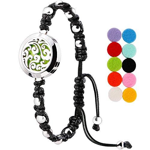 Maromalife Diffuser Bracelet Essential Oils Handmade Aromatherapy Bracelet Adjustable Stainless Steel Bracelet for Man/Women (Cloud)