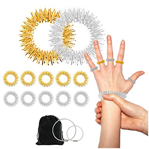 Acupressure Rings and Bracelets Massagers Set Spiky Sensory Finger Rings for Finger and Hand Wrist Massage Pain Relief