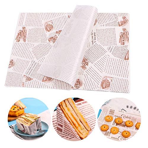 Ziyero 100 Blatt Fettdichtes Papier Antihaft Wachspapier Lebensmittelverpackungs Papier Geschenkpapier zum Backen von Gebäck Geeignet für Familie, Bar, Geburtstag, Party, Hochzeit, Tischdekoration usw