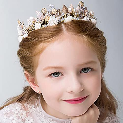 Campsis Flower Girl Headpiece Gold Seashell Crown Pearl Princess Birthday Hair Piece Wedding Hair Accessories for Women and Girls