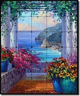 Amalfi Coast Overlook by Mikki Senkarik - Seascape Tumbled Marble Tile Mural 24