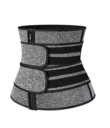 SLIMBELLE Cinturón reductor de cintura para adelgazar y quemar grasa, de neopreno, ajustable, para hombre y mujer Gray-Zip L