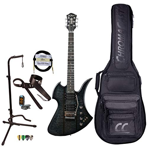BC Rich Guitars Mockingbird Legacy ST Electric Guitar with Floyd Rose, Case, Strap, and Stand, Black Burst