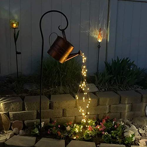 Pateacd Star Shower Garden Art LED Decoración con Estaca, LED Garden Firefly Bunch Lights, Regadera Decoración Lámpara de Césped Festival Luces Decorativas de Metal,with Iron Frame