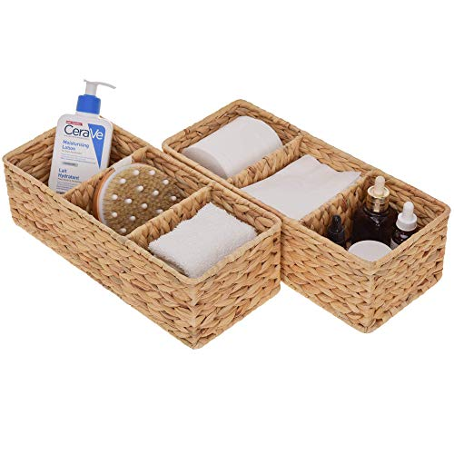 """StorageWorks 3-Section Wicker Baskets for Shelves, Hand-Woven Water Hyacinth Storage Baskets, 13.8"""" x 6.1"""" x 4.3"""", 2-Pack"""