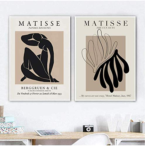 GKZJ Dipinti su Tela Henri Matisse Pittura Astratta Minimal Illustration Stampe su Tela Vintage Beige Wall Pictures Home Decor2 Pezzi 60x80cm Senza Cornice