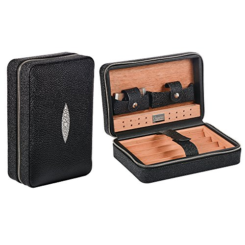 Volenx Travel Cigar Humidor Case, Leather Cigar Case with Humidifier & Cutter, Wooden Cigar Box for 4 Cigars (Black)