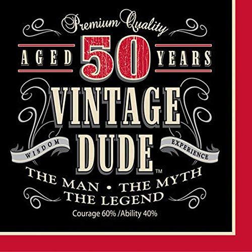 Creative Converting Servietten zum 40. Geburtstag, 16 Stück Lunch Vintage Dude 50. Geburtstag