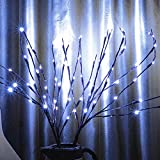 3 Pack Cool White Lighted Twig Branches 60 LED Lights Artificial Tree Willow Branches Lamp for Home Holiday Party Decoration Decor Battery Operated
