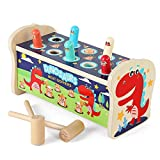 Siwo Hammer Pounding Bench Toys, Natural Wood Mallet Blocks Pounding Bench Toys for Toddlers,1,2,3 Years Child