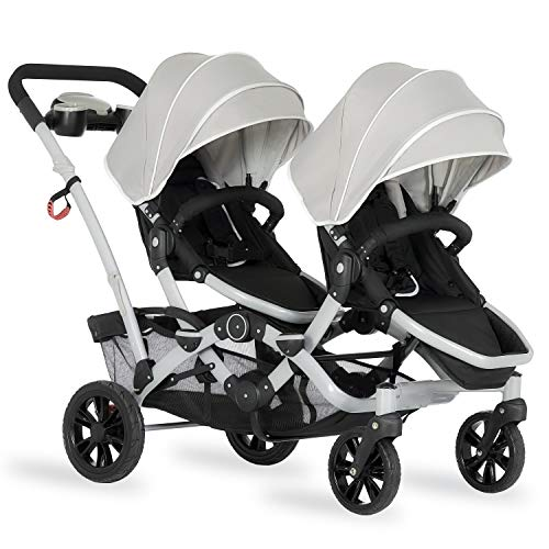 Dream On Me Track Tandem Stroller- Face to Face Edition in Light Grey