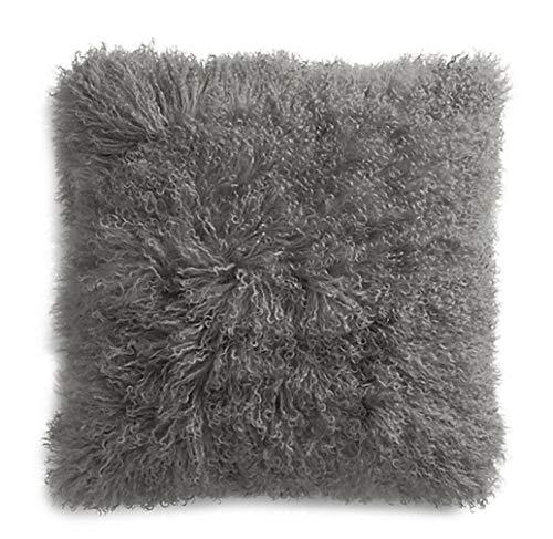 unite down 100% Real Mongolian Lamb Fur Cushion Cover/Pillowcase (Grey, 18x18inchs)
