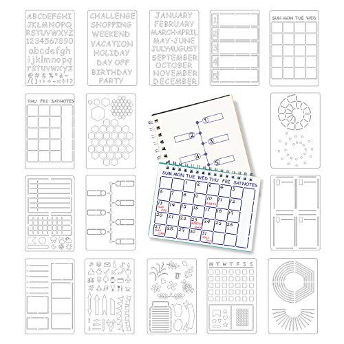 Journal Stencils, Bullet Journaling Stencil, Stencil Set for Dotted Journals, Makes Creating Layouts Easy, Stencils for DIY Journals Notebook Schedule Templates (7.5 x 4.9 inch)