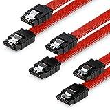 deleyCON 3x 50cm SATA 3 Nylon Cavi Set Cavo Dati 6 Gbit/s Cavo di Collegamento Cavo di Attacco Scheda Madre HDD SSD Disco Rigido 2 Spina S-ATA Dritta Rosso