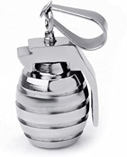 ReFaXi Vogue Goth Silver Tone Men Stainless Steel Grenade Pendant Charm for Necklace