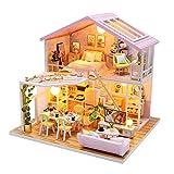 Fsolis Miniatura casa delle Bambole con mobili,3D Fai da Te Kit di Dollhouse di Legno Oltre a Prova di Polvere e Il Movimento della Musica Regalo Creativo M2001