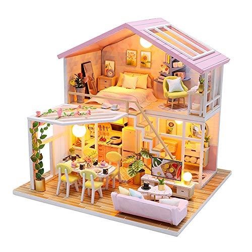 Fsolis Casa de Muñecas en Miniatura de Bricolaje con Mueble, Casa en Miniatura de Madera 3D con Cubierta Antipolvo y , Kit de Regalo Creativo de Casas para Muñecas M2001