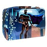 Bolsa de maquillaje portátil con cremallera bolsa de aseo de viaje para mujeres práctico almacenamiento cosmético bolsa superhéroe en urbano