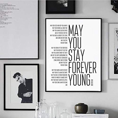 Non-branded artaslf Forever Young Song Songtexte Poster Art Gemälde Schwarz-Weiß-Text Leinwand Kunstdruck Home Music Poster Wanddekoration- 60x80cm ungerahmt