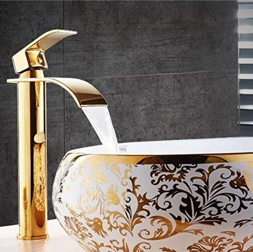 MUMUWU Grifos Cuenca del Grifo de Oro Blanco y Grifo de la Cascada de latón baño Grifo baño Grifo del Lavabo del Mezclador del Grifo (Color : Gold Tall)