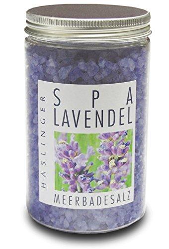 Lashuma SPA Lavendel Badezusatz, Badesalz für entspannendes Muskelbad oder Fußbad, Wellness Badewannen Zubehör 450 g