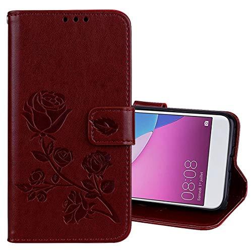 Fundas Huawei For Huawei P9 Lite Mini Rosa en Relieve Horizontal Flip Funda de Cuero PU Ambiental con Soporte y Ranuras for Tarjetas y Billetera Fundas Huawei (Color : Brown)