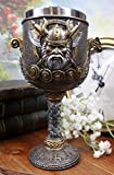 Ebros Gift Norse Mythology Valhalla Viking Odin Warlord With Dragon Longship Hull And Stern 7oz Resin Wine Goblet Chalice With Stainless Steel Liner Cup Thor's Compass Vegvisir Bearings Design