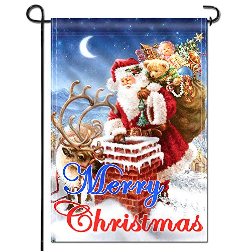 Anley |Double Sided| Premium Merry Christmas Garden Flag, Santa Claus Winter Decorative Garden Flags - Weather Resistant & Double Stitched - 18 x 12.5 Inch