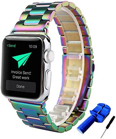HUANLONG Compatible with Apple Watch Band Solid Stainless Steel Metal Replacement Watchband product image
