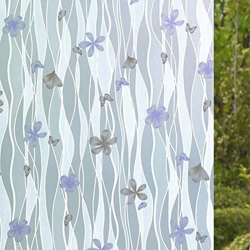 60x200cm Zelfklevende folie voor badkamer raam glazen schuifdeuren cellofaan toilet doorschijnend raam glas zelfklevend papier, grijze vlinder