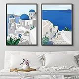 Ocean Wall Art Canvas Painting Ilustraciones Verano Santorini Grecia Cartel de Viaje Naturaleza Paisaje Cuadros Cuadros Decoración del hogar 40x60cm / 15.7'x23.6 X2 Sin Marco