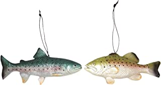 Wowser Realistic Painted Cast Resin Trout Fish Decorative Hanging Ornaments, Set of 2, 7 1/4 Inch
