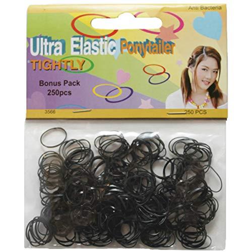 250 Mini Elastiques à Cheveux Noires - Polyuréthane Diam : Env. 1cm - Antibactérien- Black Mini Hair Bands