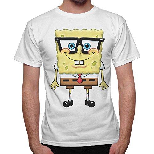 Camiseta Hombre Bob Esponja Cartoon Esponja–Blanco Bianco XX-Large