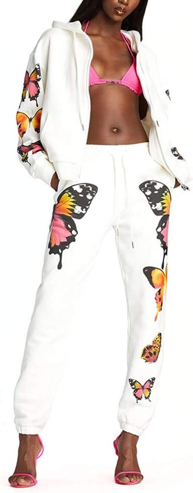 Womens Loose Butterfly Print Tie-dye Hooded Tracksuits Tops Trousers Sprotswear
