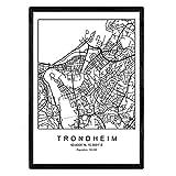Nacnic Drucke Stadtplan Trondheim im skandinavischen Stil