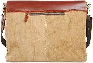 Vintage Leather Canvas Men's Messenger Bag Business with Laptop Bag Travel Shopping Bag (Color : Brown, Size : S)