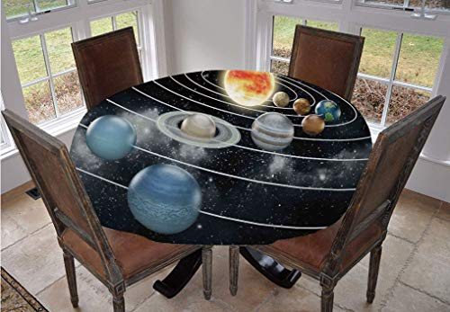 Angel Bags Galaxy Round Tablecloth,Solar System All Eight Planets and the Sun Pluto Jupiter Mars Venus Science Fiction Polyester Table Cover,48 Inch,for Dining Room and Party Black Grey