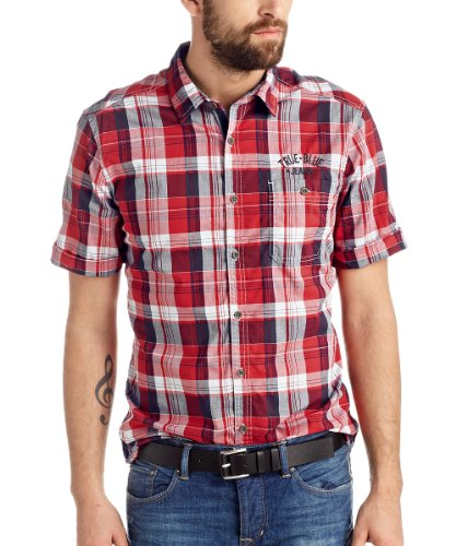 Edc by ESPRIT - kurzarm, kariert 044CC2F011 Chemise casual Homme - Rouge (NOMAD RED 595) - FR:Small (Taille fabricant: X-Small)