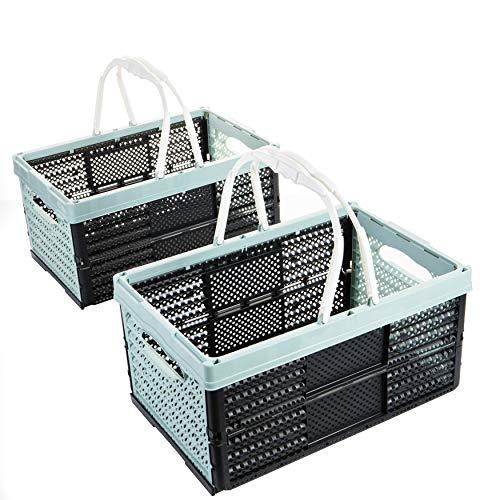 2friends Klappbox mit Henkel Einkaufskorb, 2 Stück grün, 16 Liter, 40 x 26 x 20 cm, stapelbar, Tragkraft bis ca. 12 kg, Made in EU