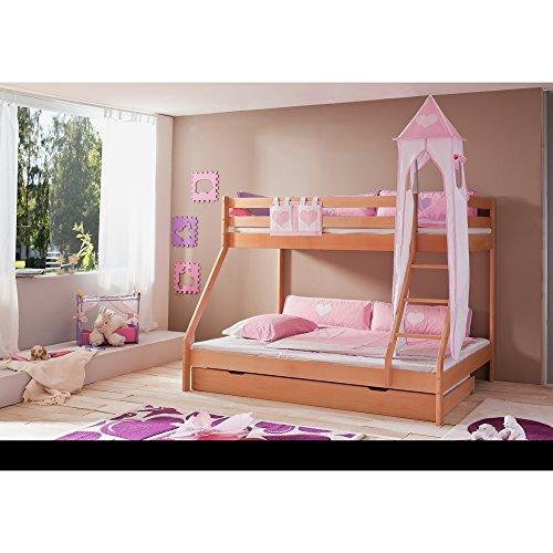 Relita Etagenbett Mike inkl. Bettschubladen und 2 TLG. Textils.rosa/weiß,Buche massiv Natur lackiert