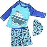 2er Set Bade-Set Baby Langarm Taucheranzug Schwimmanzug mit Badekappe Beachwear