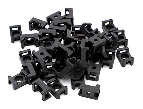 iExcell 100 Pcs Black 4.5mm Cable Tie Base Saddle Type Mount Wire Holder