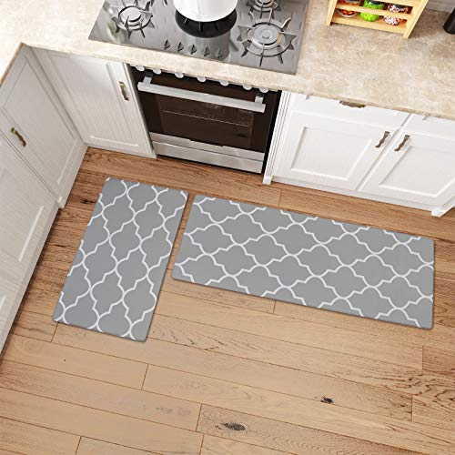 Kitchen Mat Cushioned Anti-Fatigue Kitchen Rug 2 PCS Waterproof Non-Slip Kitchen Mats and Rugs Heavy Duty PVC Ergonomic Comfort Foam Rug for Kitchen, Floor Home, Office, Sink, Laundry Grey