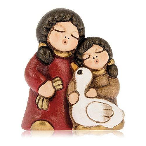 THUN® - Bambine con Oca - Versione Rossa - Statuine Presepe Classico - Ceramica - I Classici