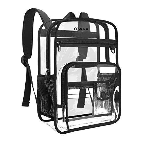 MOSISO 15.6インチ ラップトップ バックパック TSA認証 PVC 透明 軽量 防水 MacBook/Chromebook/Ultrabook対応 メンズ レディース 通勤 通学 旅行 日常(クリア&ブラック)