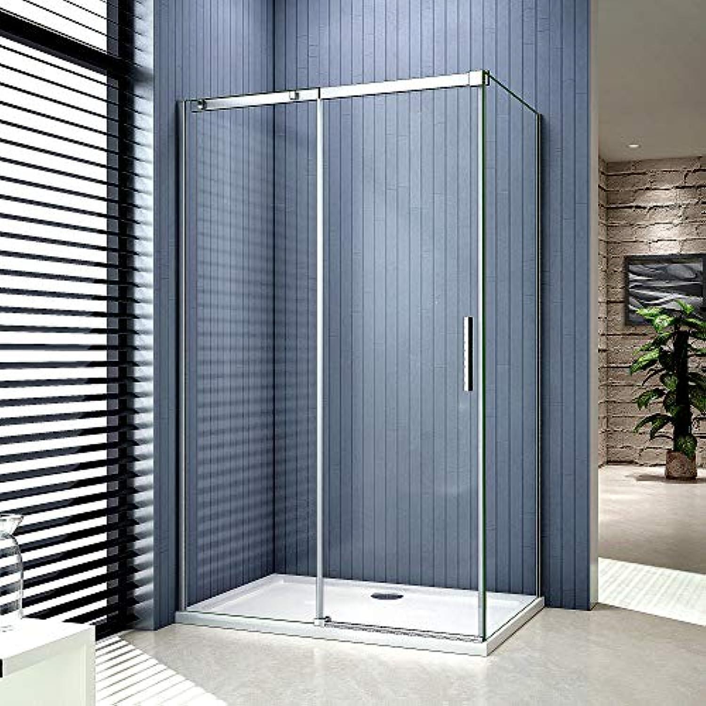 100x70cm Duschkabine Verstellbereich von 973-1013 mm Duschabtrennung Nischentür Dusche aus 6mm Sicherheitsglas mit Seitewand T1