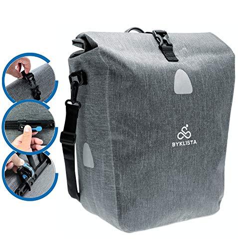 BYKLISTA® Premium Fahrradtasche für Gepäckträger + Gratis eBook – hochwertige Gepäckträgertasche Hinterradtasche Tasche für Fahrrad – Wasserdicht mit Reflektoren & Schultergurt in Grau, 23 L
