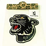 Patch Portal Black Panther Emblem 4.5 Inches Embroidery Patch DIY Decorative Animal Wild Life Tiger Fashion Show Souvenir Embroidered Appliques Iron on Transfers for Jackets Party Shirt T-Shirt